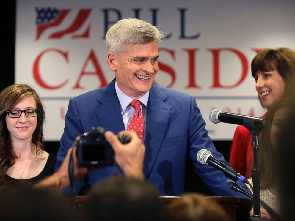PHOTO: Louisiana Republican Senate candidate Rep. Bill Cassidy, R-La., who is challenging incumbent Sen. Mary Landrieu, D-La., addresses supporters during his election night watch party in Baton Rouge, La., Nov. 4, 2014.