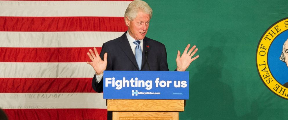 """PHOTO:Bill Clinton campaigns for his wife, Hillary Clinton, during a """"Washington Get Out The Caucus"""" rally, March 21, 2016, at Spokane Falls Community College in Spokane, Wash."""