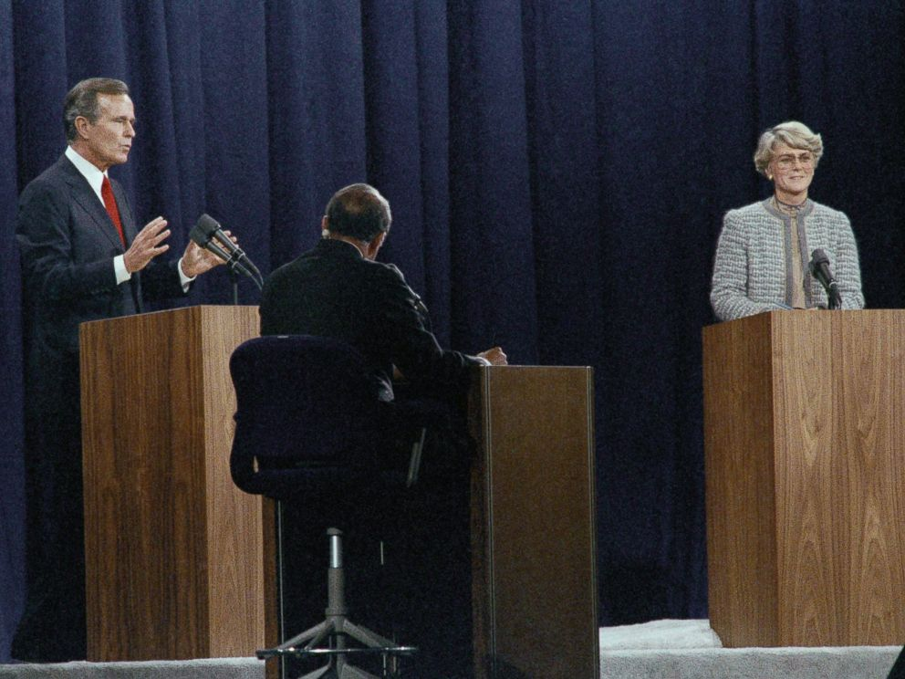 PHOTO: Vice-President George H. Bush makes a point as Democratic Vice-Presidential candidate Geraldine Ferraro speaks, Oct. 12, 1984, during debate in Philadelphia.