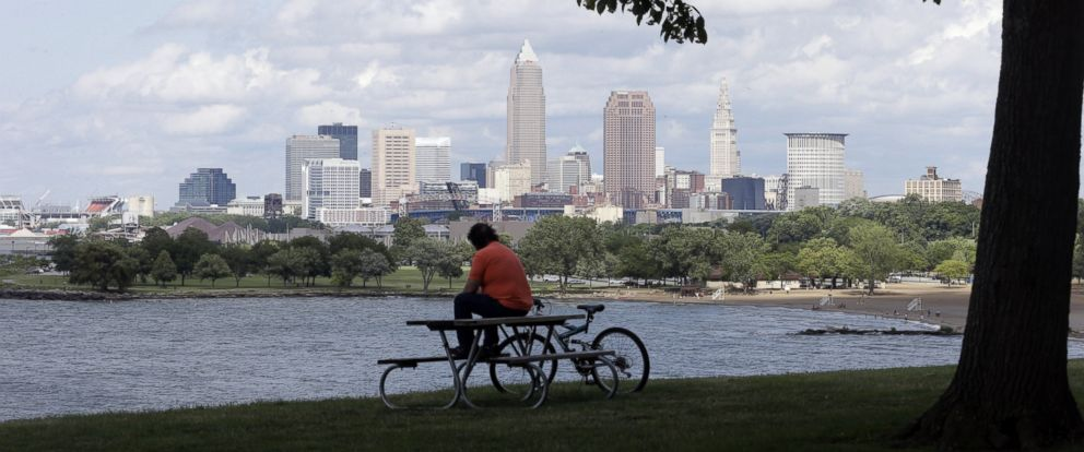 PHOTO: This July 8, 2014, file photo shows a view of downtown Cleveland. City officials plan to present an overview of security on May 31, 2016, for this summers Republican National Convention to counter concerns about readiness to host the event.
