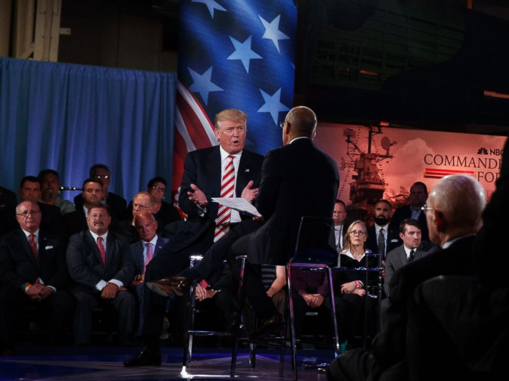 PHOTO:Republican presidential candidate Donald Trump speaks with Matt Lauer at the NBC Commander-In-Chief Forum held at the Intrepid Sea, Air and Space museum aboard the decommissioned aircraft carrier Intrepid, New York, NY Sept. 7, 2016.