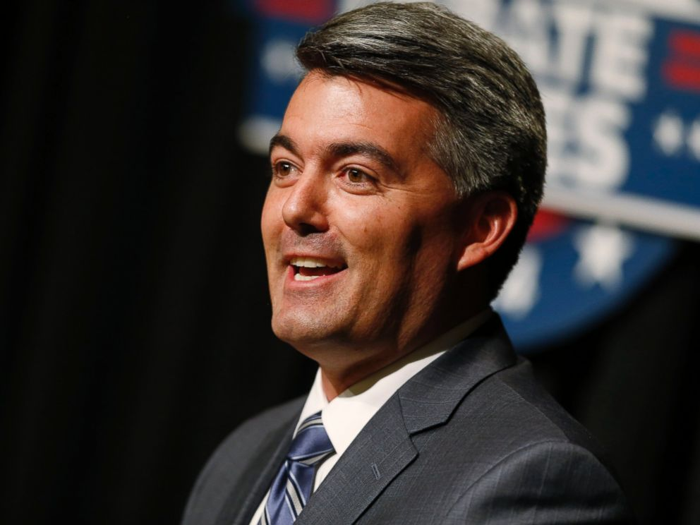 PHOTO: FILE - This Oct. 7, 2014 file photo shows Republican challenger U.S. Rep. Cory Gardner making point during his senatorial debate with incumbent U.S. Sen. Mark Udall, D-Colo., at The Denver Post in Denver.