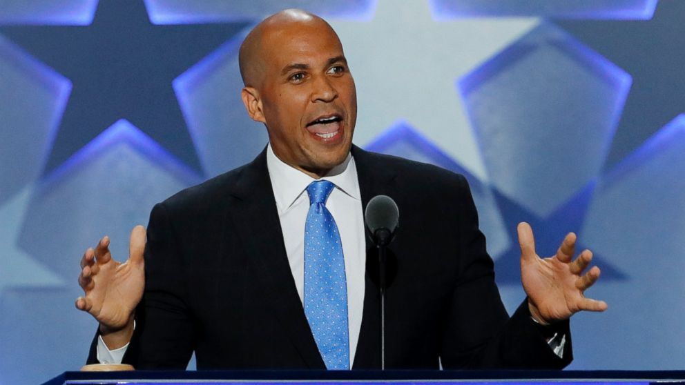 Sen. Cory Booker, D-NJ., speaks during the first day of the Democratic National Convention in Philadelphia, Pennsylvania, July 25, 2016.