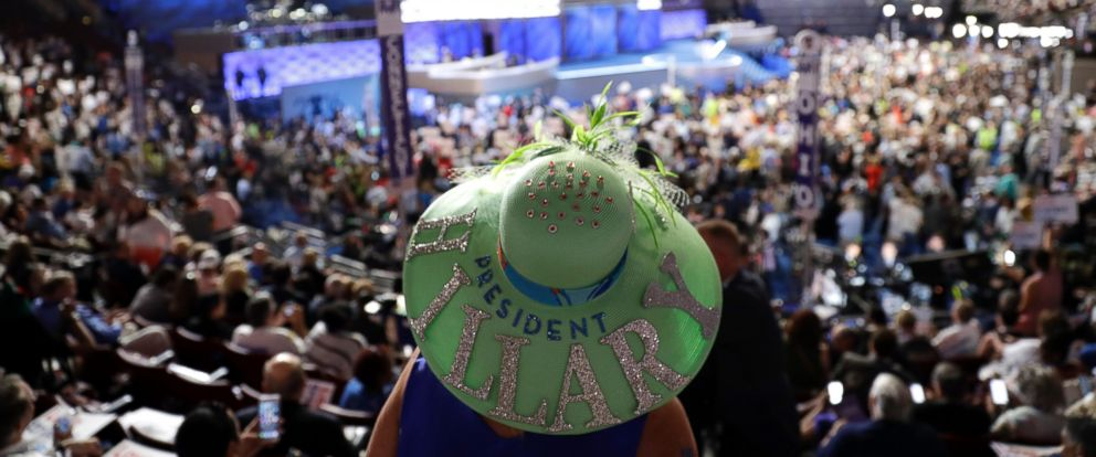 PHOTO: Mississippi delegate Kelly Jacobs shows off her hat during the first day of the Democratic National Convention in Philadelphia, Pennsylvania, July 25, 2016.
