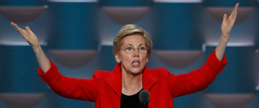 PHOTO: Sen. Elizabeth Warren, D-Mass., speaks during the first day of the Democratic National Convention in Philadelphia, July 25, 2016.