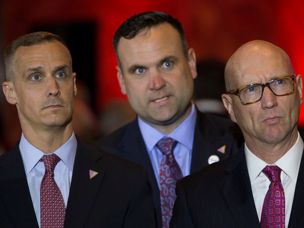 PHOTO: Republican presidential candidate Donald Trump campaign manager Corey Lewandowski (L), Dan Scavino, center, and Michael Glassner, watch as Ted Cruz ends his campaign, ahead of a primary night news conference by Trump, May 3, 2016, in New York City.