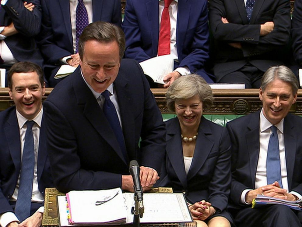 PHOTO: Outgoing British Prime Minister David Cameron, smiles, during his final session of prime ministers questions at the House of Commons, in London, July 13, 2016.