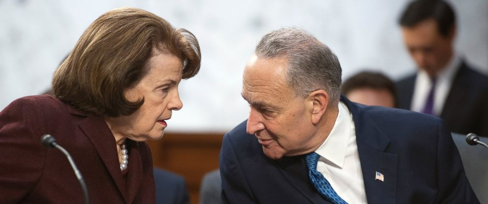 """PHOTO: Sen. Dianne Feinstein and Sen. Charles Schumer, during the Senate Judiciary Committee markup of the """"Assault Weapons Ban of 2013"""", on March 7, 2013."""