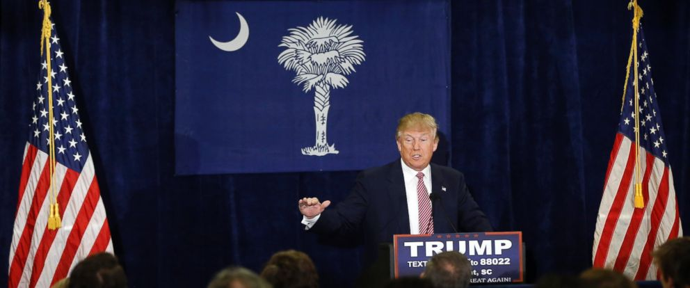 PHOTO: Donald Trump speaks during a campaign stop Feb. 15, 2016, in Mount Pleasant, South Carolina.