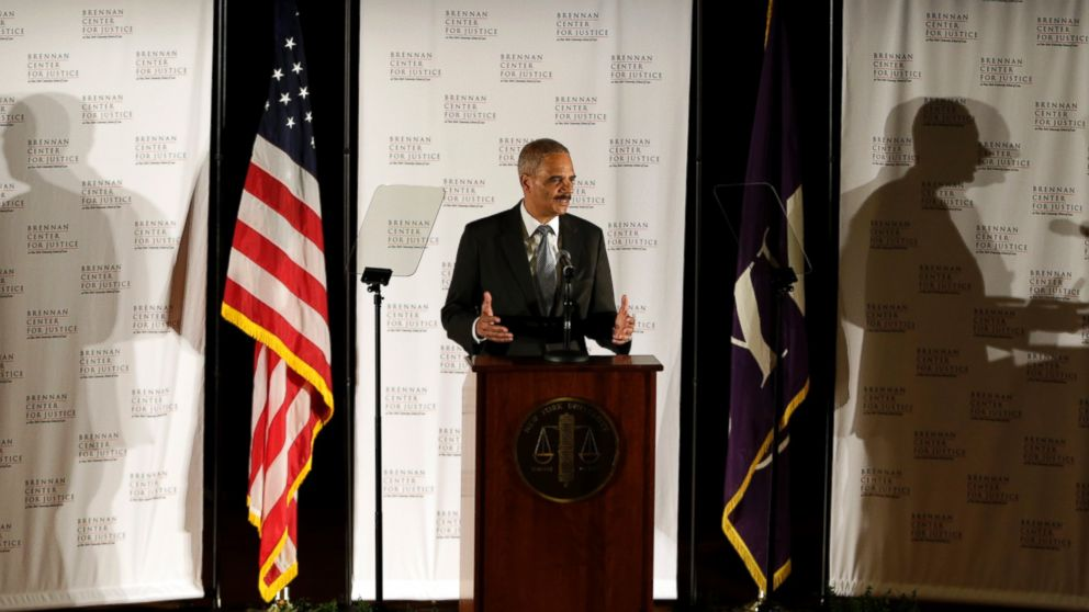 U.S. Attorney General Eric Holder delivers a keynote speech at New York University's law school, Sept. 23, 2014, in New York.