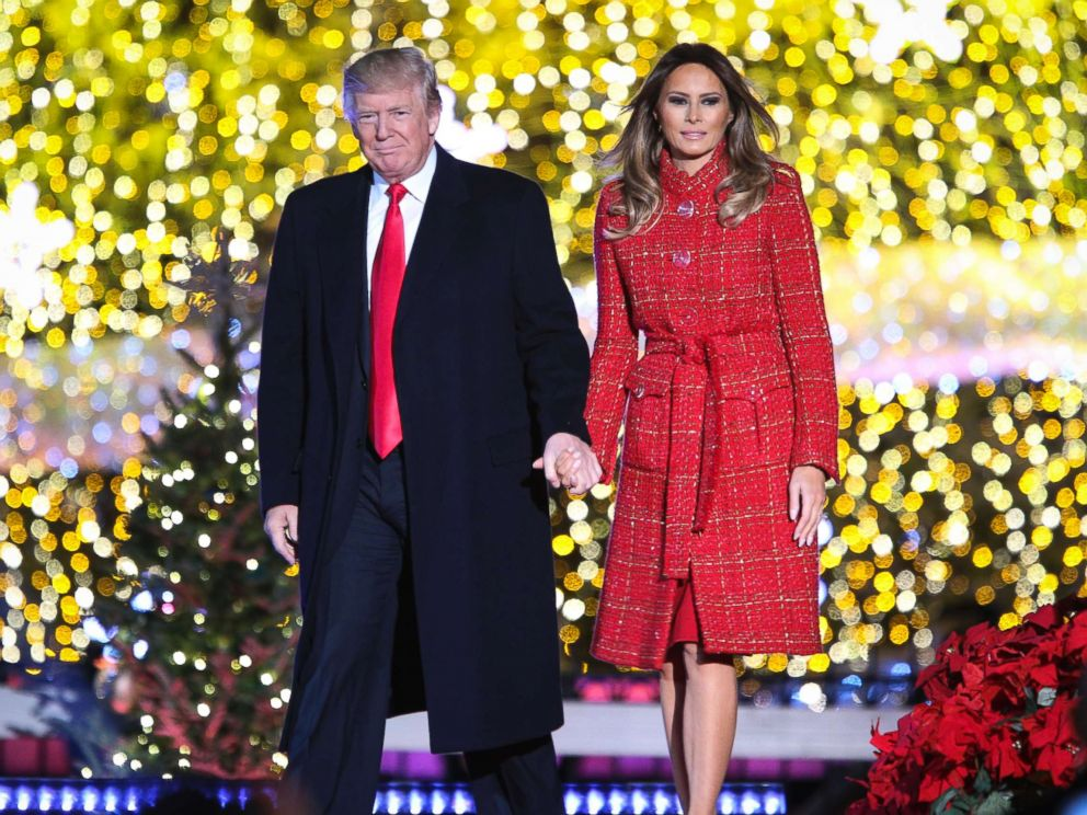 PHOTO: President Donald Trump and first lady Melania Trump, take part in the 95th Annual National Christmas Tree lighting ceremony at the Ellipse near the White House, in Washington on November 30, 2017.