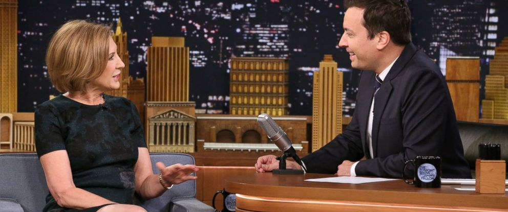 """PHOTO:Republican presidential candidate Carly Fiorina appears with host Jimmy Fallon during a taping of """"The Tonight Show with Jimmy Fallon,"""" Monday, Sept. 21, 2015, in New York."""