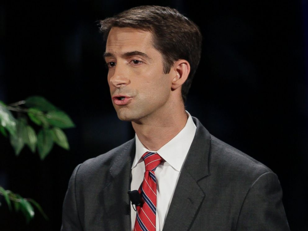 PHOTO: FILE - In this Oct. 14, 2014 file photo, Rep. Tom Cotton, R-Ark., speaks during a televised debate at the University of Arkansas in Fayetteville, Ark.