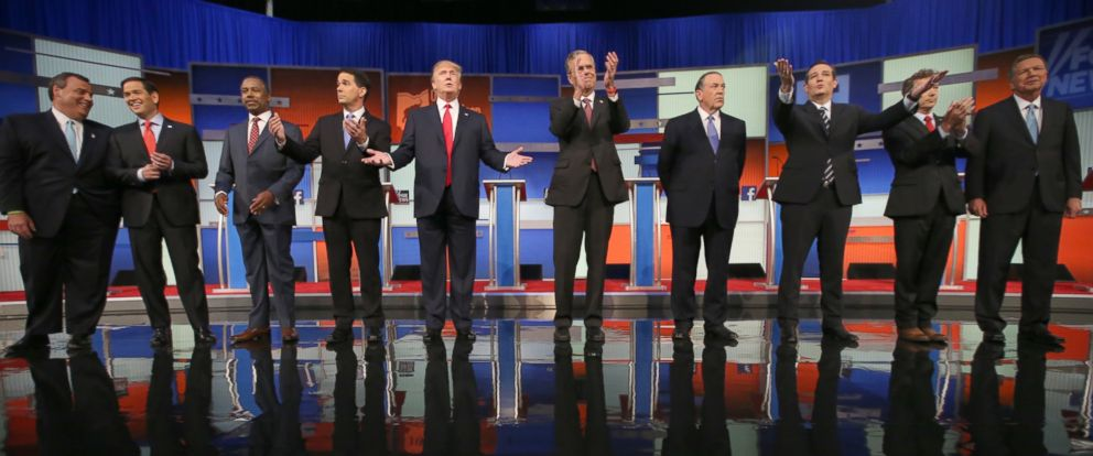 PHOTO: Republican presidential candidates debate at the Quicken Loans Arena Aug. 6, 2015, in Cleveland.