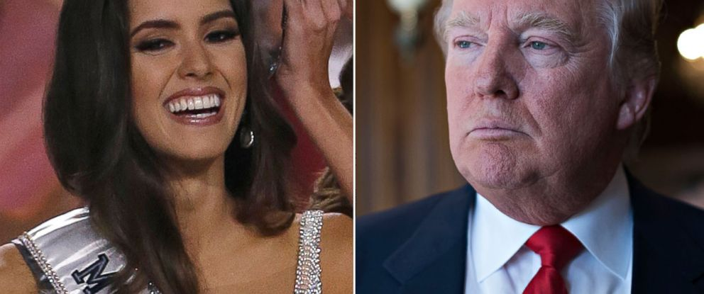PHOTO: Miss Universe, Paulina Vega of Colombia is crowned during the Miss Universe pageant in Miami, Jan. 25, 2015. Right, Donald Trump takes questions from the media during the Iowa Freedom Summit in Des Moines, Iowa, Jan. 24, 2015.