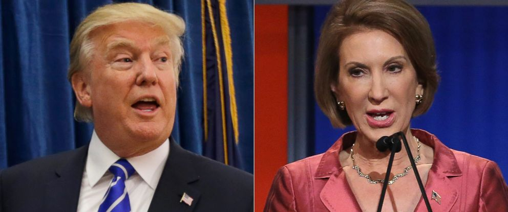 PHOTO: Donald Trump is pictured on Aug. 14, 2015 in Hampton, N.H. | Carly Fiorina is pictured on Aug. 6, 2015 in Cleveland, Ohio.