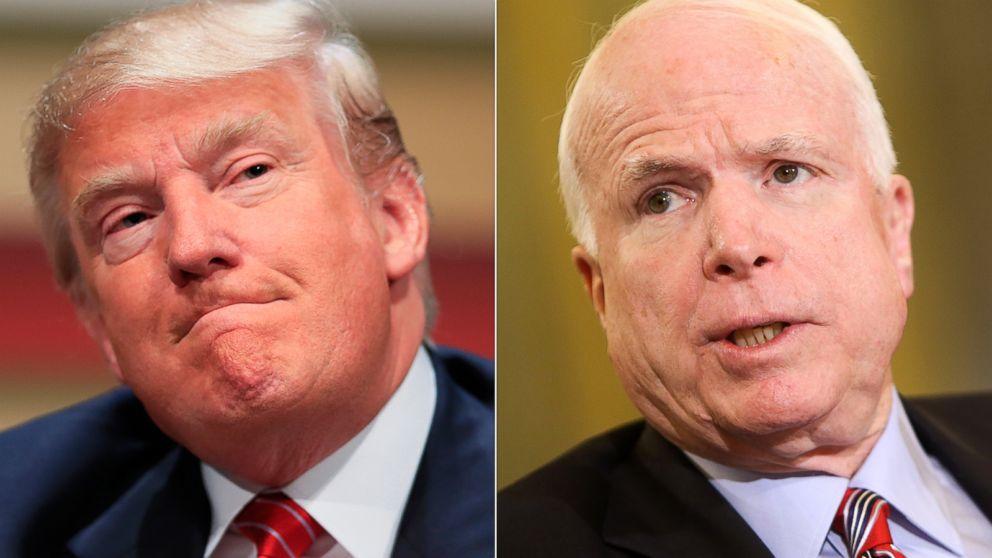 Republican presidential candidate, real estate mogul Donald Trump in Ames, Iowa, July 18, 2015. | Sen. John McCain, R-AZ, in Washington on May 14, 2013.