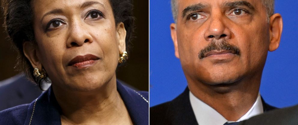 PHOTO: Attorney general nominee Loretta Lynch appears on Capitol Hill in Washington, Jan. 28, 2015. | United States Attorney General Eric Holder attends a press conference, Jan. 11, 2015, in Paris.