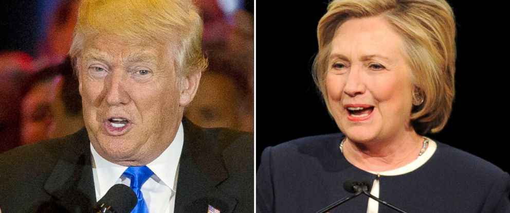 PHOTO: Donald Trump, left, and Hillary Clinton campaign for President.
