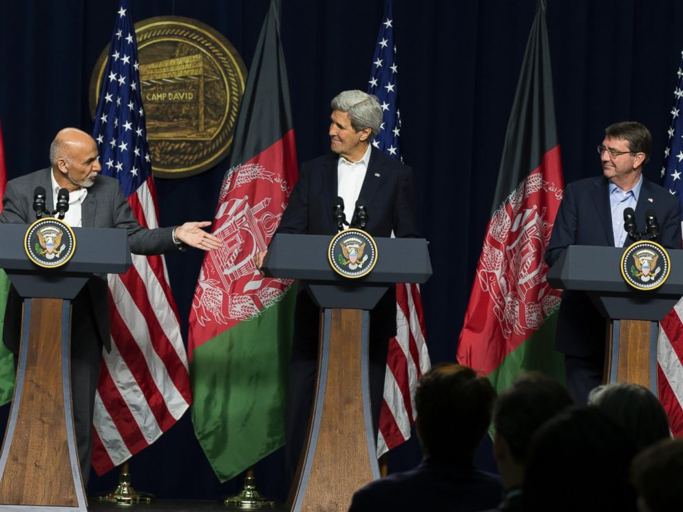 PHOTO: Afghanistans President Ashraf Ghani, accompanied by Secretary of State John Kerry and Defense Secretary Ash Carter, speaks during a news conference at the Camp David Presidential retreat, Monday, March 23, 2015.