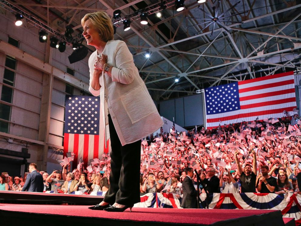 PHOTO: Democratic presidential candidate Hillary Clinton reacts to supporters during a presidential primary election night rally, Tuesday, June 7, 2016, in Brooklyn, New York.