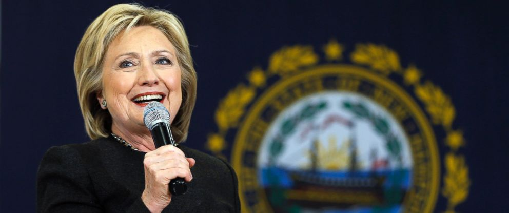 PHOTO: Hillary Clinton speaks during a campaign stop, Feb. 3, 2016, in Derry, N.H.