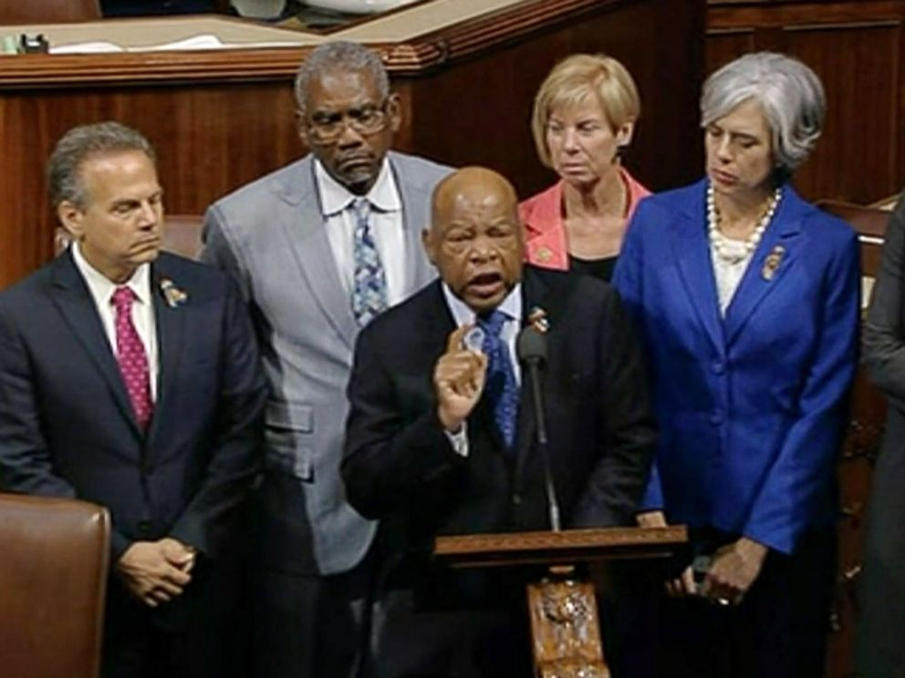 PHOTO: Democrats shut down the Houses legislative work on Wednesday, June 22, 2016, staging a sit-in on the House floor and refusing to leave until they secured a vote on gun control measures before lawmakers weeklong break.