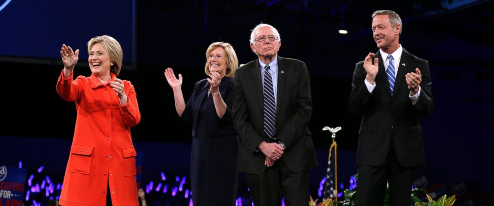 PHOTO: Democratic presidential candidates Hillary Clinton, Sen. Bernie Sanders, I-Vt., and former Maryland Gov. Martin OMalley, stand on stage at the start of the Iowa Democratic Partys Jefferson-Jackson Dinner, Oct. 24, 2015, in Des Moines, Iowa.