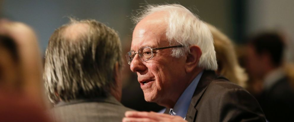 PHOTO: Democratic presidential candidate Sen. Bernie Sanders, I-Vt., talks with a supporter during the Iowa Democratic Partys Hall of Fame Dinner, Friday, July 17, 2015, in Cedar Rapids, Iowa.
