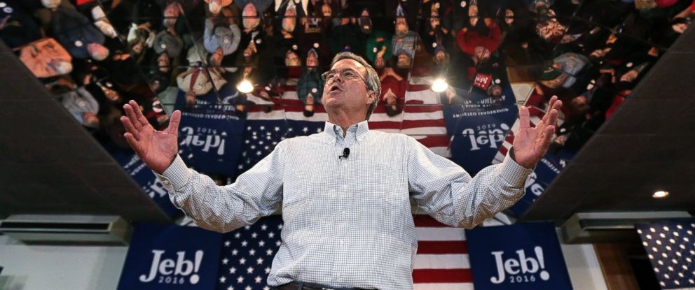 PHOTO: Jeb Bush gestures as he addresses a gathering during a campaign stop in Manchester, N.H., Feb. 1, 2016.
