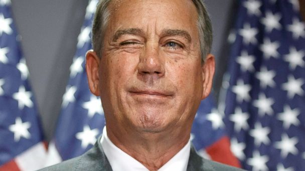 PHOTO: House Speaker John Boehner of Ohio gives a wink to a reporter as he answers questions with GOP leaders at Republican National Committee headquarters on Capitol Hill in Washington, July 15, 2014.