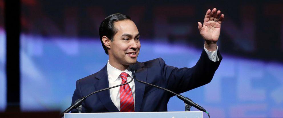 PHOTO: Housing and Urban Development Secretary Julian Castro addresses the Texas Democratic convention, June 17, 2016, in San Antonio.
