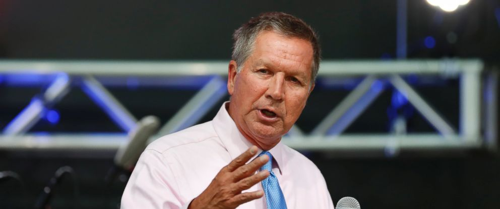 PHOTO: Ohio Gov. John Kasich speaks at the The Rock and Roll Hall of Fame and Museum on July 19, 2016, in Cleveland, during the second day of the Republican convention.