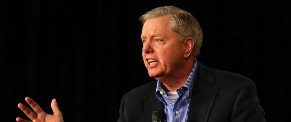 PHOTO: Republican presidential candidate, Sen. Lindsey Graham speaks at the Iowa GOPs Growth and Opportunity Party at the Iowa state fair grounds in Des Moines, Iowa in this Oct. 31, 2015 file photo.