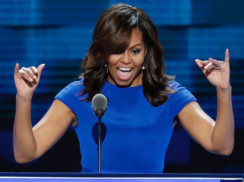 PHOTO: First Lady Michelle Obama waves to delegates during the first day of the Democratic National Convention in Philadelphia July 25, 2016.