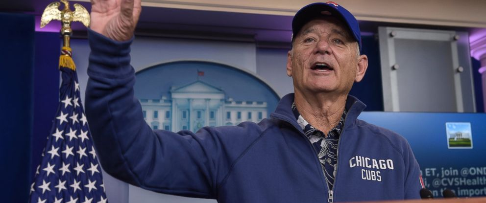 PHOTO: Actor Bill Murray speaks during a visit to the White House briefing room in Washington, Friday, Oct. 21, 2016. Murray is in Washington to receive the Mark Twain Prize for American Humor
