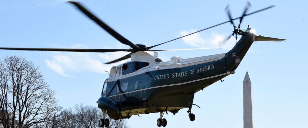 PHOTO: Marine One helicopter, with President Barack Obama on board, lifts off from the South Lawn of the White House in Washington, Thursday, March 12, 2015.