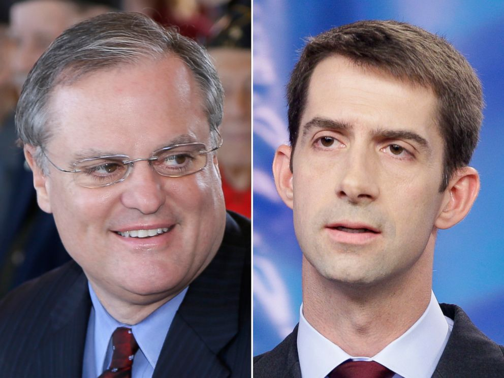 PHOTO: U.S. Sen. Mark Pryor, seen left attends a Veterans Day observance in Little Rock, Ark., Nov. 11, 2013, and right, Republican Tom Cotton participates in a debate at Arkansas Educational Television Network studios in this Oct. 25, 2012, file photo.