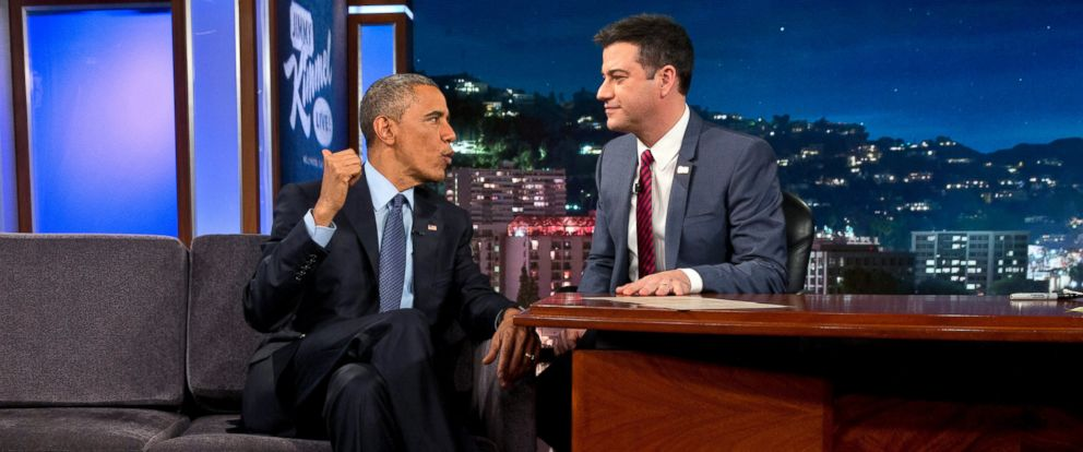 """PHOTO: President Obama talks with Jimmy Kimmel during a break in taping on """"Jimmy Kimmel Live"""" in Los Angeles Thursday, March 12, 2015."""