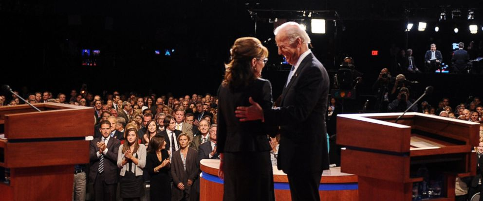 PHOTO: Republican Vice Presidential candidate, Alaska Gov. Sarah Palin, left, and Democratic Vice Presidential candidate, Sen Joe Biden, D-Del., talk with each other after their vice presidential debate, Oct. 2, 2008, in St. Louis, Missouri.