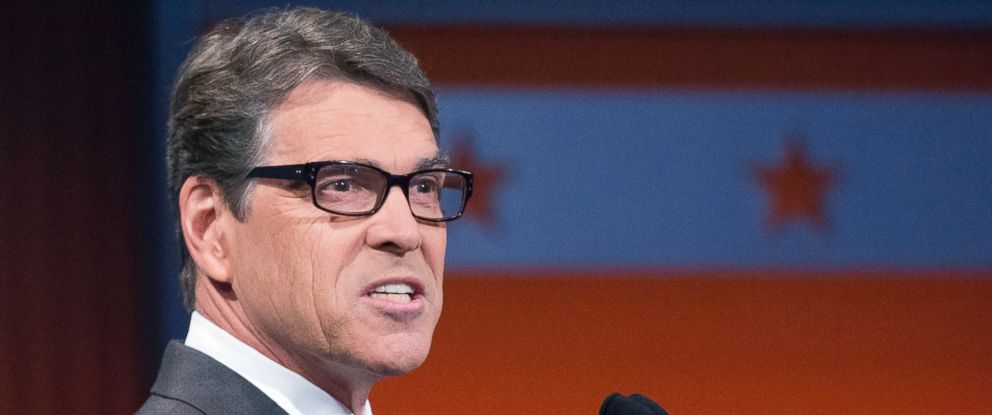 PHOTO: Republican presidential candidate former Texas Gov. Rick Perry speaks during a pre-debate forum at the Quicken Loans Arena, Thursday, Aug. 6, 2015, in Cleveland. Seven of the candidates have not qualified for the prime time debate.