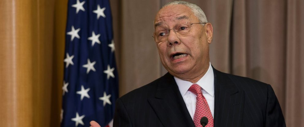 PHOTO: Colin Powell speaks at the State Department in Washington, Sept. 3, 2014.