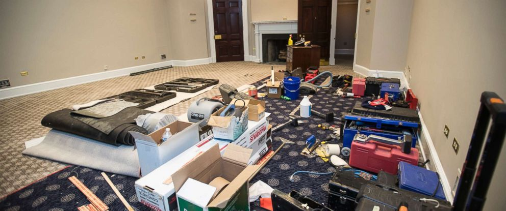 PHOTO: The Roosevelt Room in the the West Wing of the White House is undergoing renovations while President Donald Trump is spending time at his golf resort in New Jersey, Friday, Aug. 11, 2017, in Washington.