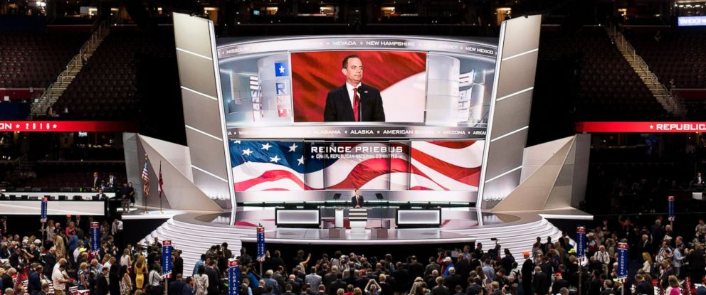 PHOTO: Republican National Committee chairman Reince Priebus gavels the 2016 Republican National Convention to order in Cleveland, Ohio, July 18, 2016.