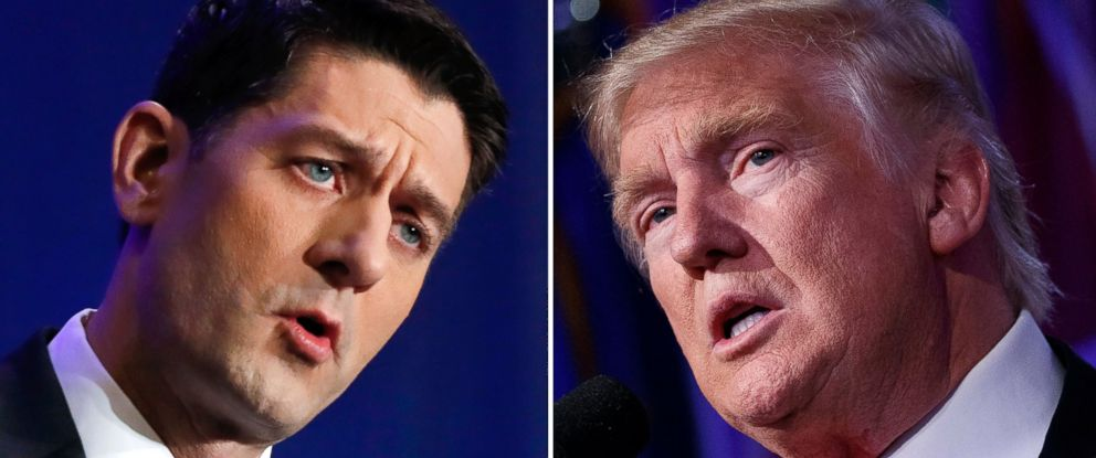 PHOTO: House Speaker Paul Ryan, left, during a news conference in Janesville, Wis., Nov. 9, 2016. Then-President-elect Donald Trump during his election night speech.