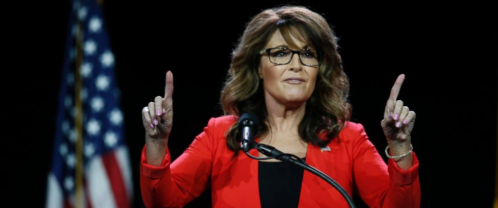 PHOTO: Former Republican vice presidential candidate Sarah Palin speaks prior to Republican presidential candidate Donald Trumps arrival during the opening session of the Western Conservative Summit, July 1, 2016, in Denver.