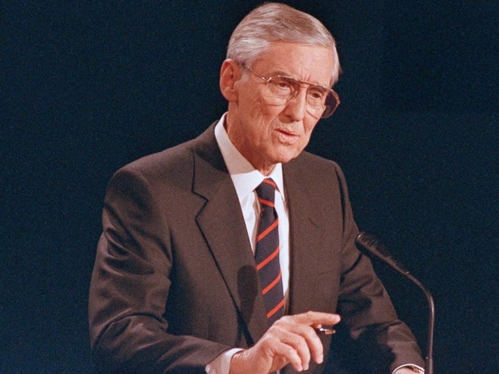 PHOTO: Sen. Lloyd Bentsen, D-Texas, speaks during his Vice Presidential debate with Sen. Dan Quayle, R-Ind., at the Omaha Civic Auditorium, Omaha, Nebraska, Oct. 5, 1988.
