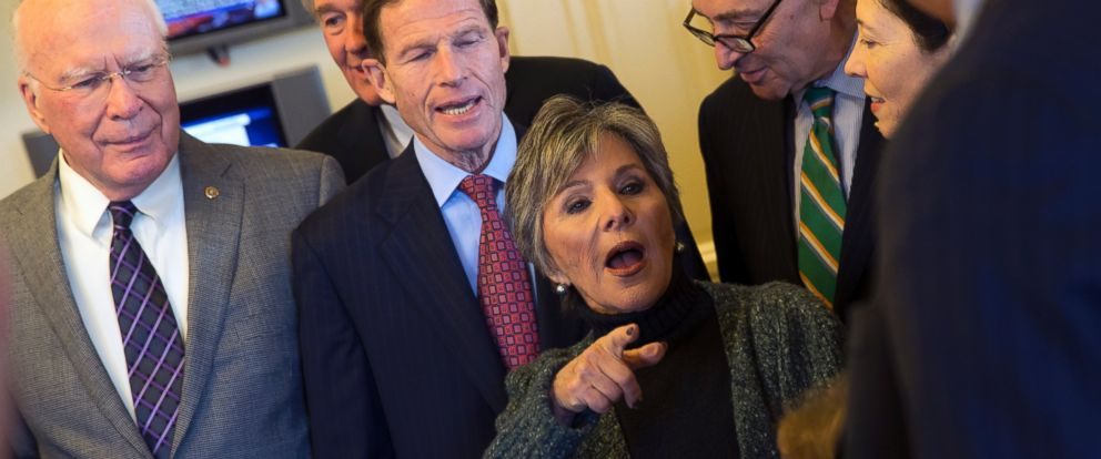 PHOTO: Senate Environment and Public Works Committee Chairman Sen. Barbara Boxer, D-Calif., talks with Senators during a meeting of the Senate Climate Action Task Force prior to taking to the Senate Floor all night to urge action on climate change.