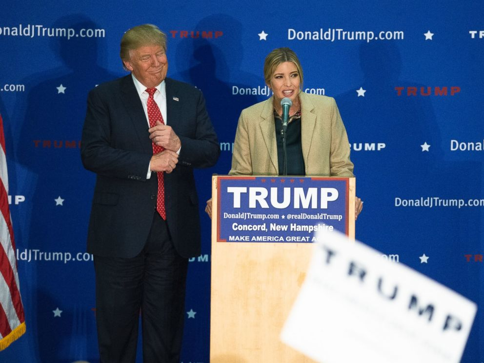 PHOTO: Ivanka Trump, right, speaks alongside her father, Republican presidential candidate Donald Trump, left, during a campaign stop at Concord High School, Jan. 18, 2016, in Concord, N.H.