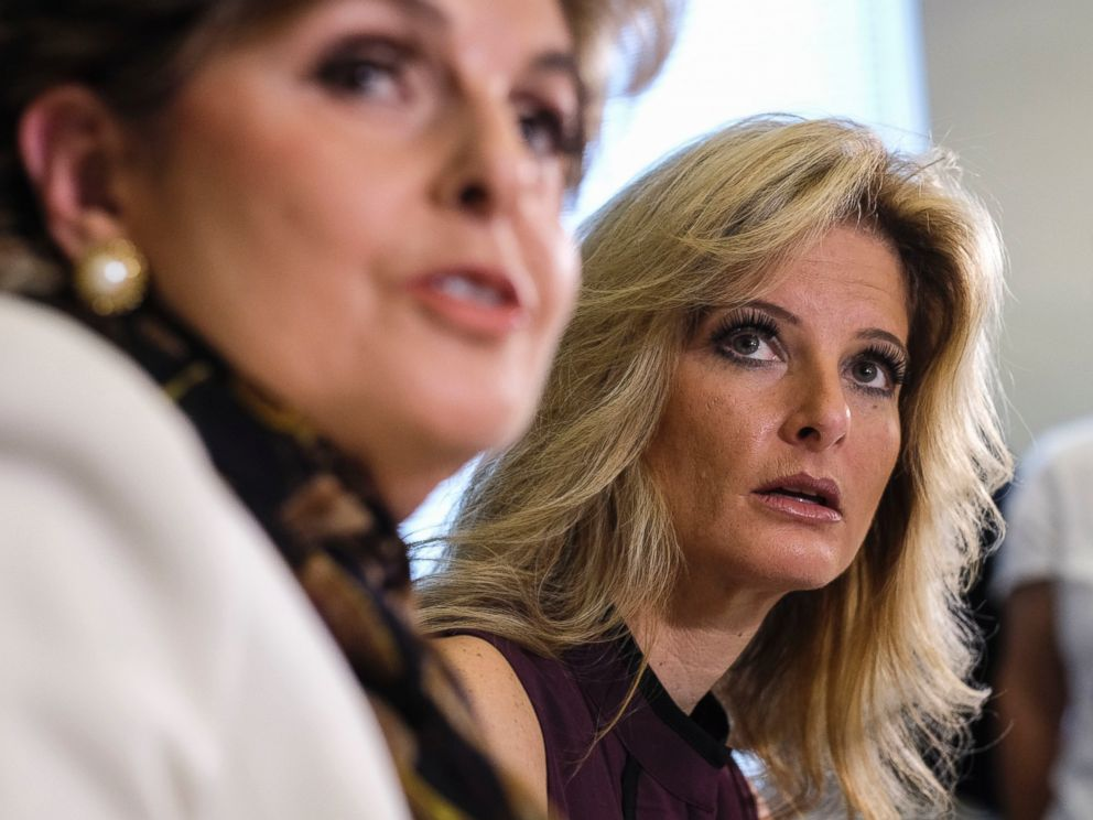 PHOTO: Summer Zervos, right, listens with her attorney Gloria Allred during a news conference in Los Angeles, Oct. 14, 2016. Zervos, a former contestant on The Apprentice says Trump made unwanted sexual contact with her at a Beverly Hills hotel in 2007.